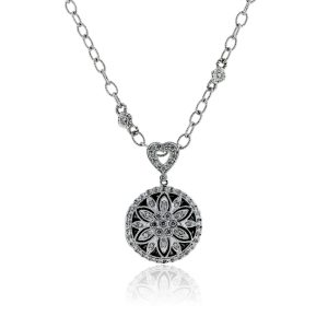 You are viewing this 14k White Gold Diamond Flower & Heart Pendant Necklace!