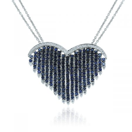 You are viewing this18k White Gold Diamond & Sapphire Heart Chain Necklace!