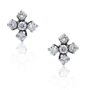 You are viewing these 14k White Gold 1.20ctw Diamond Cluster Stud Earrings!