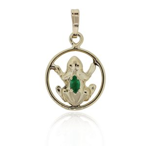 You are viewing this 14k Yellow Gold Marquis Emerald Frog Charm Pendant!