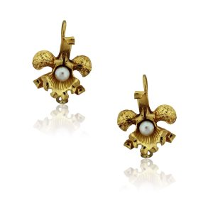 You are viewing these 14k Yellow Gold Pearl Flower Drop Dangle Earrings!