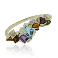 14k Yellow Gold Multi Gemstone Necklace