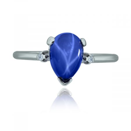 You are viewing this 14k White Gold Pear Shape Star Sapphire Diamond Ring!