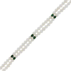 You are vieiwng this 14k Gold Diamond Emerald Double Pearl Strand Bracelet!