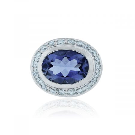 You are viewing this 18k White Gold 7ct Iolite & .5ctw Diamond Ring!