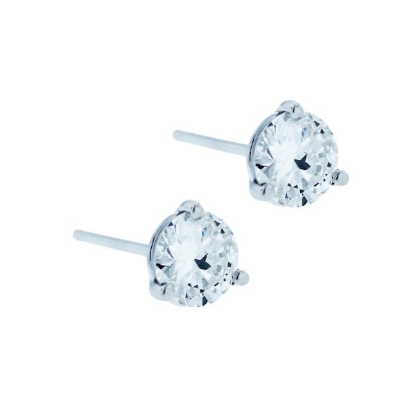 14k White Gold 1.02ctw Round Diamond Stud