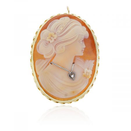 You are viewing this Yellow Gold Diamond & Coral Cameo Brooch Pendant!