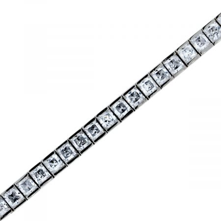 """You are viewing this 14k White Gold Radiant Cubic Zirconia 7.5"""" Tennis Bracelet"""