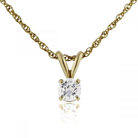 You are Viewing this 14k Yellow Gold Round Brilliant Diamond Pendant Necklace