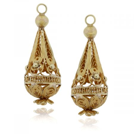 You are viewing these 18K Yellow Gold Drop Dangle Vintage Slide Earrings!