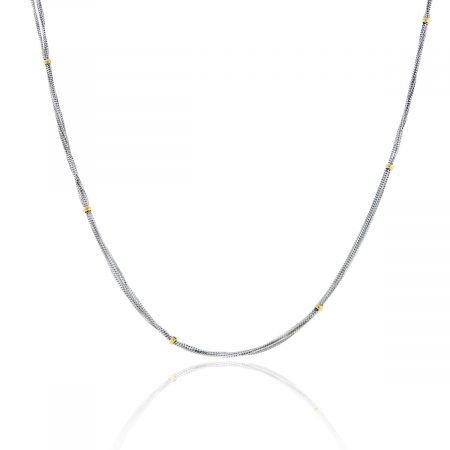18k Two Tone Multi Strand Chain With Gold Stations
