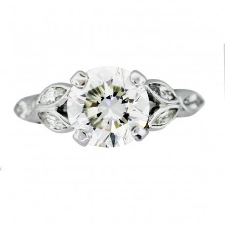 Vintage floral engagement ring with 3 carat center diamond