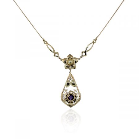 You are viewing this 14k Yellow Gold Amethyst Flower Vintage Necklace