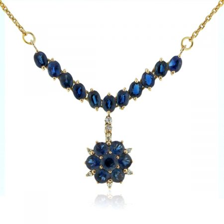 You are viewing this 14K Yellow Gold Sapphire & Diamond Drop Necklace