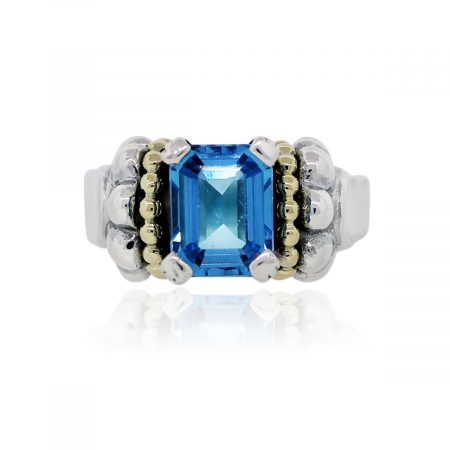 You are viewing this Lagos Caviar Sterling Silver/18k Yellow Gold Topaz Ring!