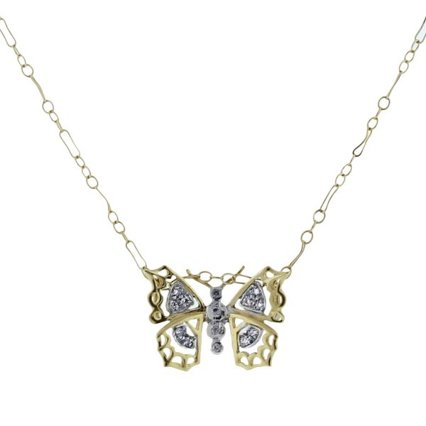 14K Yellow Gold & Diamond Butterfly Necklace