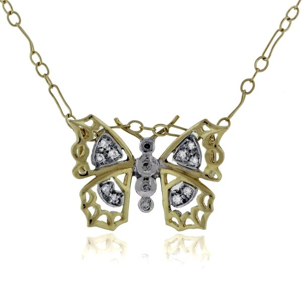 You are viewing this 14K Yellow Gold & Diamond Butterfly Pendant Necklace