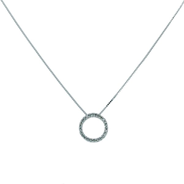14K White Gold Small Circle Diamond Necklace