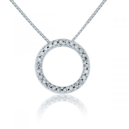 You are Viewing this 14K White Gold Small Circle Diamond Pendant Necklace