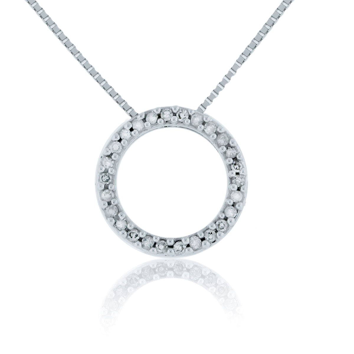 14K White Gold Small Circle Diamond Pendant Necklace