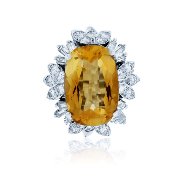You are viewing this 14K White Gold Citrine & Diamond Cluster Ring