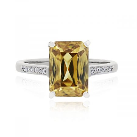 You are viewing this 14k White Gold Citrine & 0.15ctw Diamonds Ring!