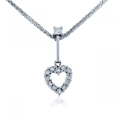 You are viewing this 14K White Gold Diamond Heart Pendant Necklace