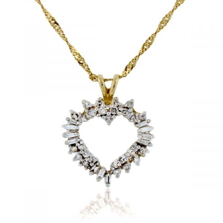 You are viewing this 14K Yellow Gold Multi Diamond Heart Pendant Necklace