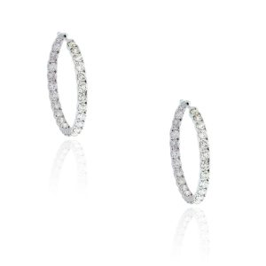 You are viewing this 14k White Gold 10ctw Diamond Inside Out Hoop Earrings