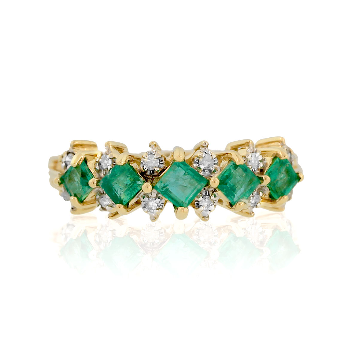 You are viewing this 14k Yellow Gold Diamond & Emerald Ring