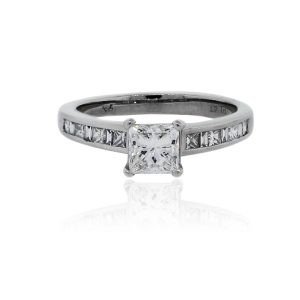 You are viewing this Platinum GIA 1ct Princess Cut Diamond Engagement Ring!