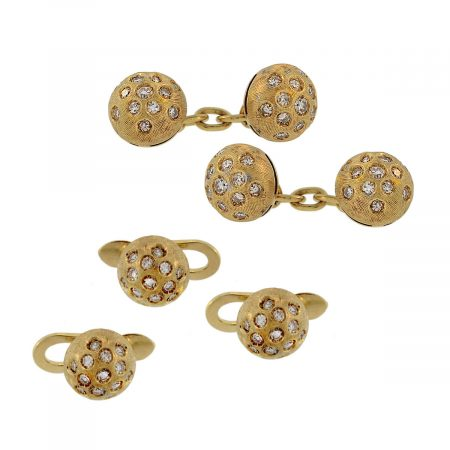 You are viewing this 5 Piece 18K Yellow Gold & Diamond Cufflink Set