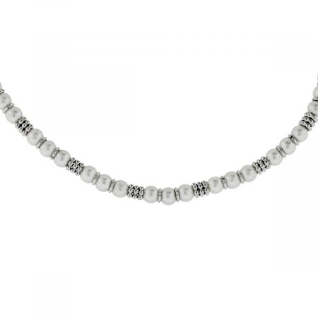 You are viewing this 14K White Gold & Pearl Station Necklace