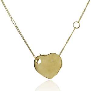 You are viewing this 18k Yellow Gold Heart Diamond Necklace!