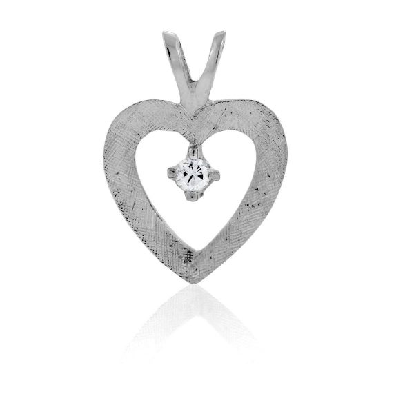 You are viewing this 14K White Gold & Diamond Heart Pendant