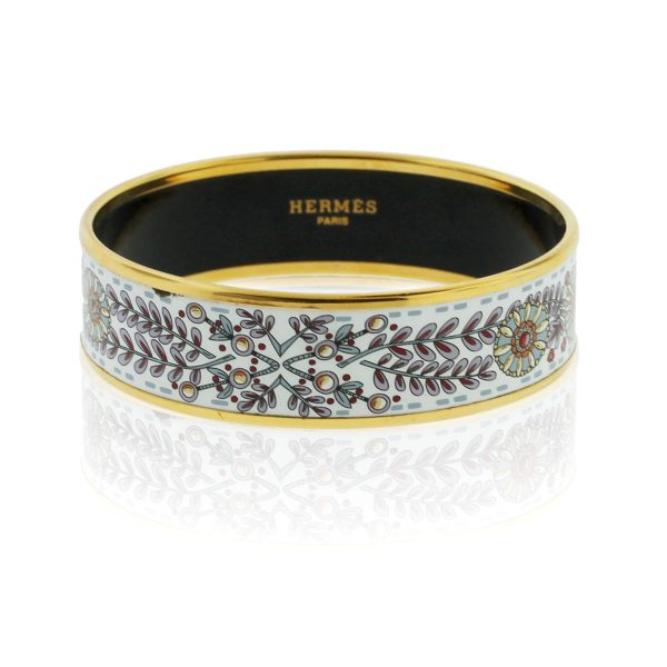 You are viewing this Hermes Wide Gold Plated Enamel Bracelet