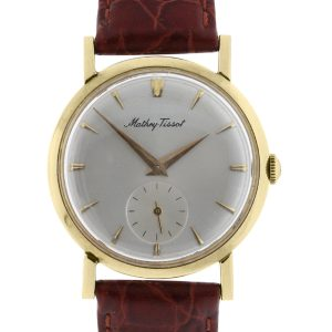You are viewing this Mathey Tissot 14k Yellow Gold on Leather Vintage Watch!