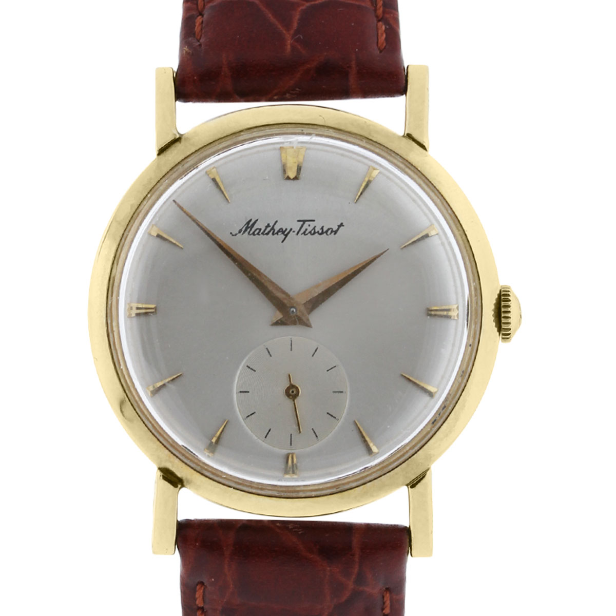 Mathey Tissot 14k Yellow Gold on Leather Vintage Watch
