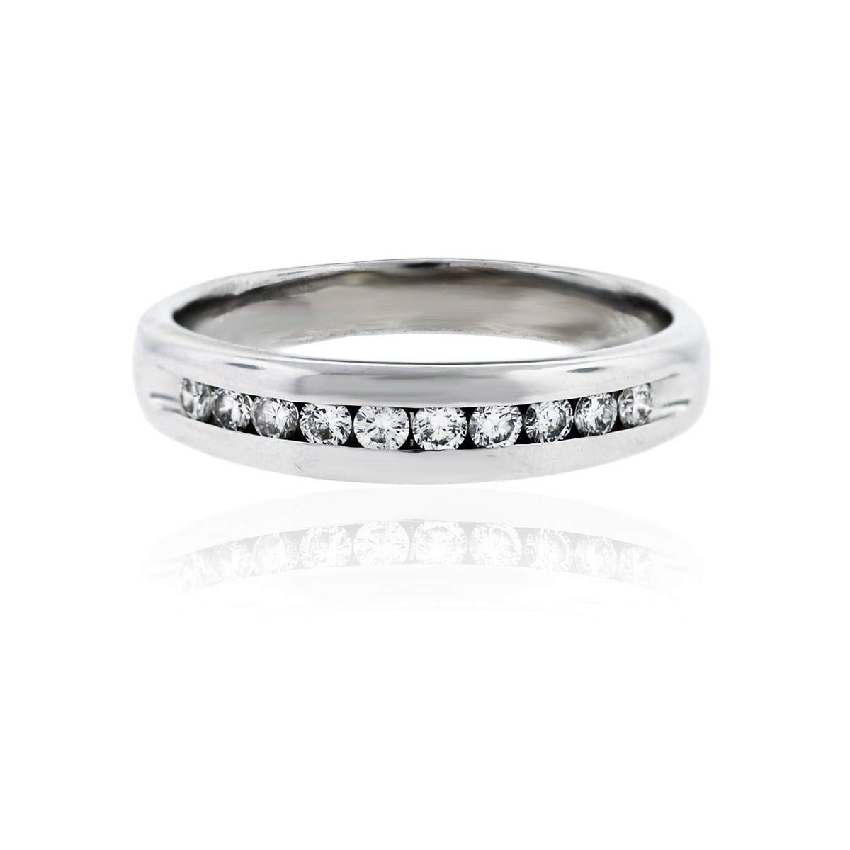 Mens 14k White Gold 40ctw Diamond Wedding Band