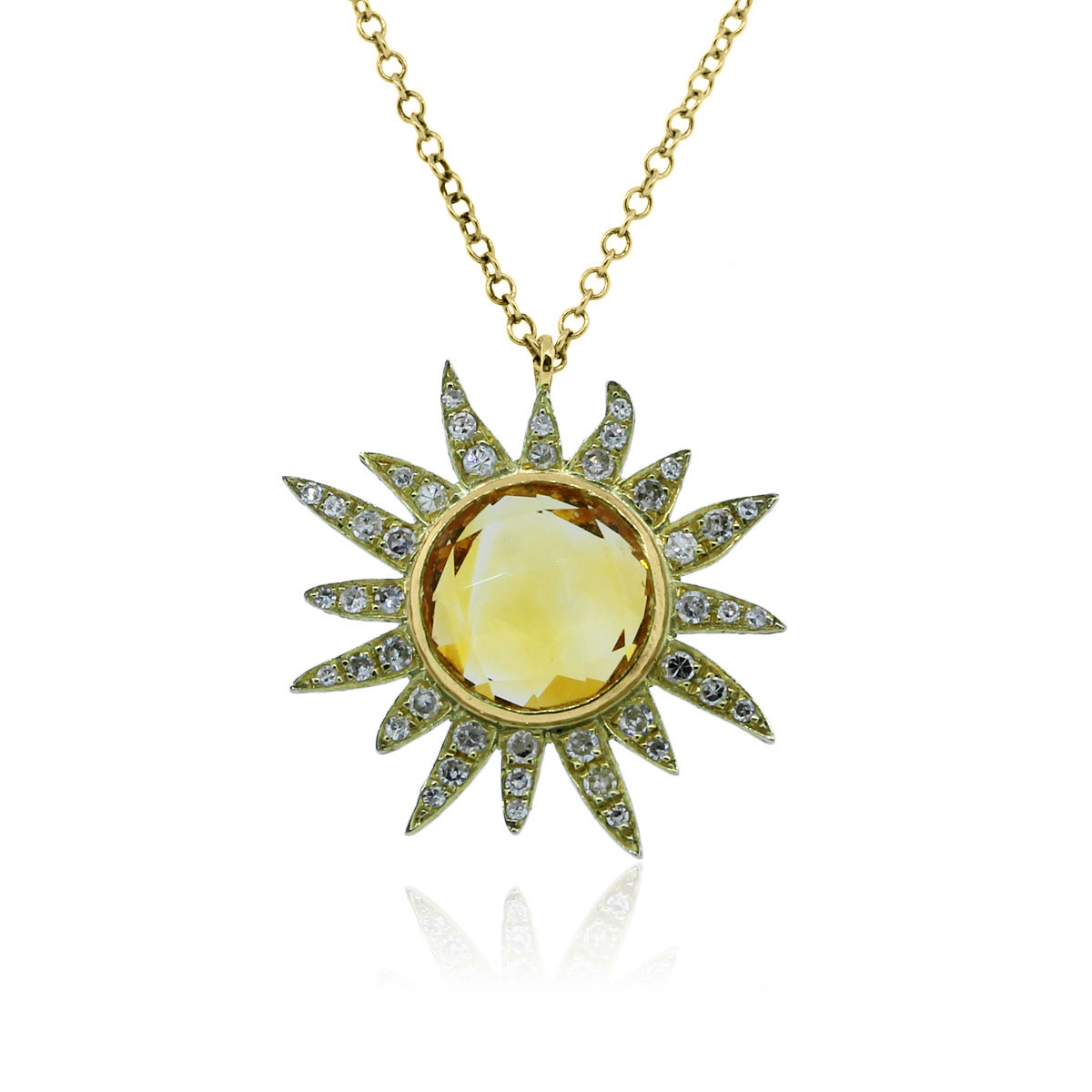 Meira T 14k Yellow Gold Citrine Amp Diamonds Sun Necklace