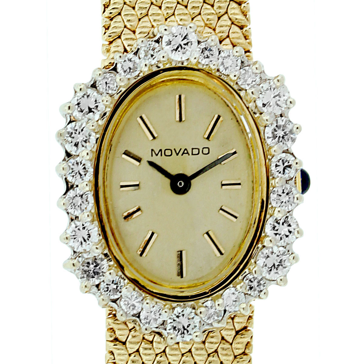 Movado yellow gold diamond bezel vintage ladies watch for Woman diamond watches
