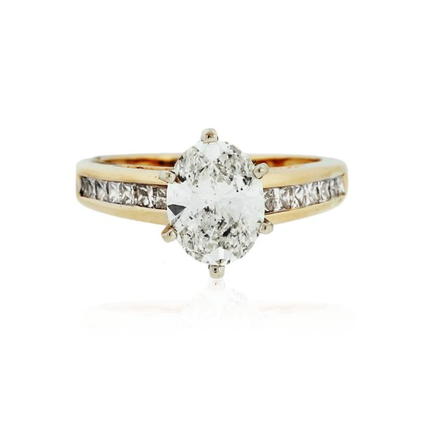 You are viewing this 14K Gold 1.73ct Oval Diamond Engagement Ring
