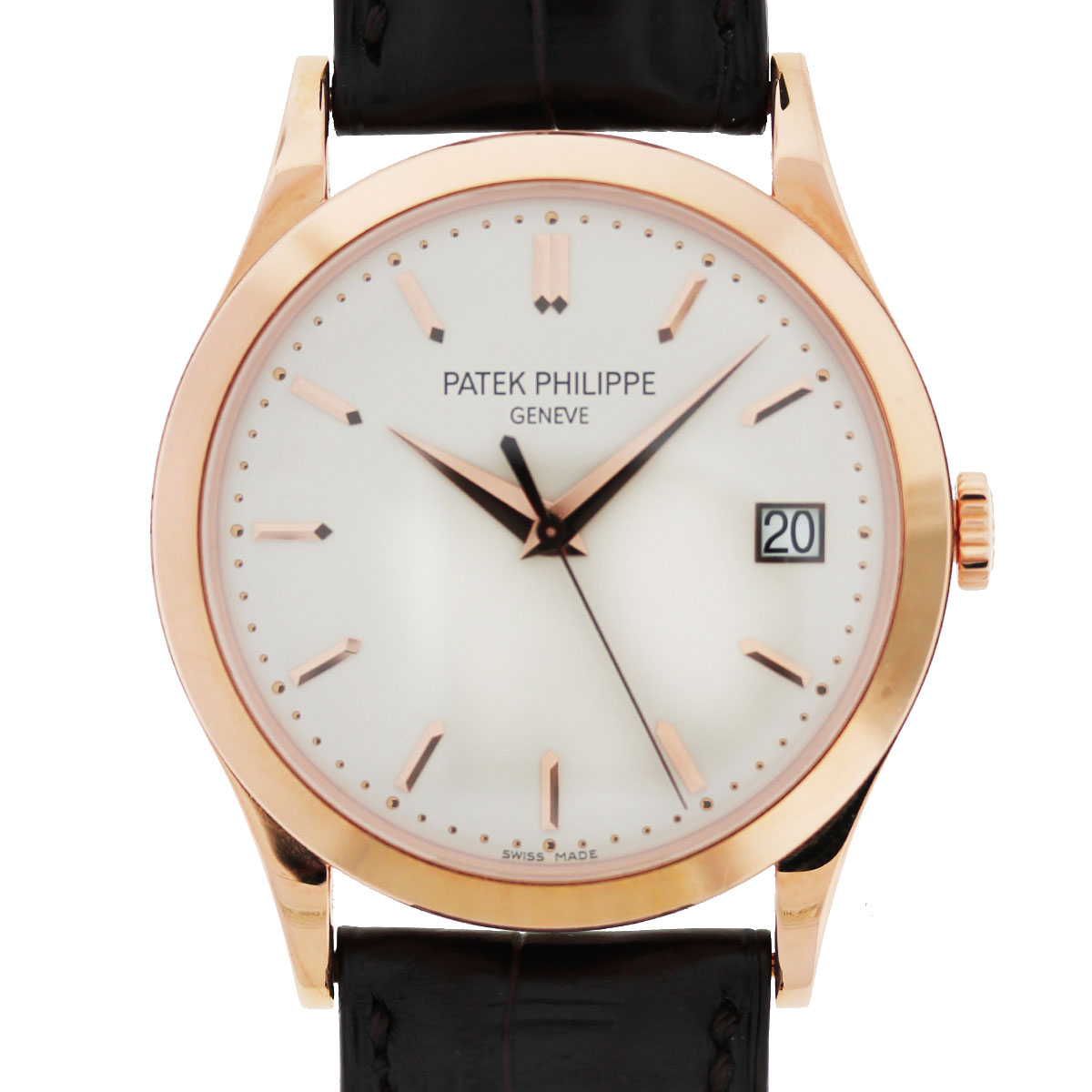 Patek Philippe 5296R Calatrava 18k Rose Gold Eggshell Dial Mens Watch