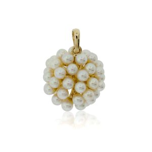 You are viewing this 14K Yellow Gold Seed Pearl Cluster Pendant