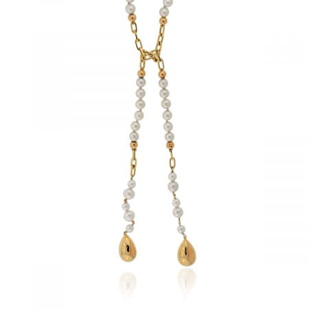 You are viewing this 14K Yellow Gold & Pearl Lariat Necklace