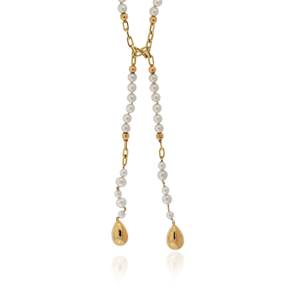 14k yellow gold pearl lariat necklace boca raton