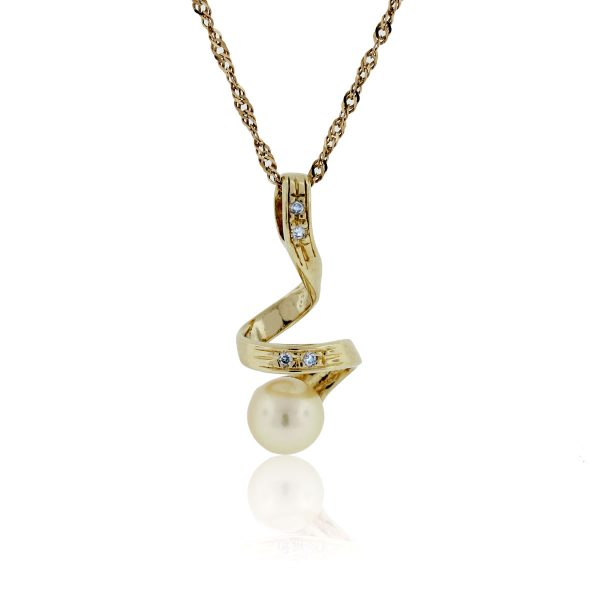 You are viewing this 18K Yellow Gold Pearl & Diamond Pendant