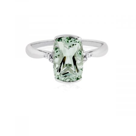 You are viewing this 14K White Gold Prasiolite & Diamond Ring