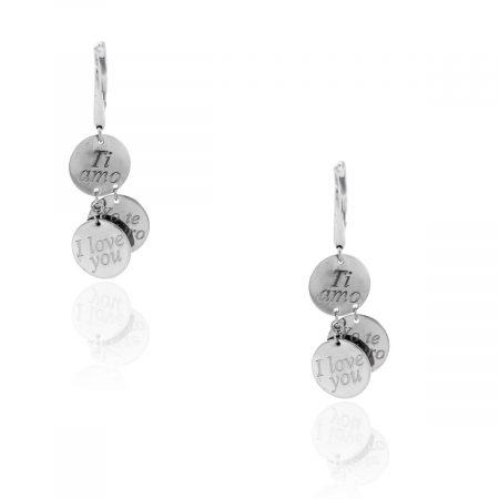 "Roberto Coin White Gold ""I Love You"" Earrings"