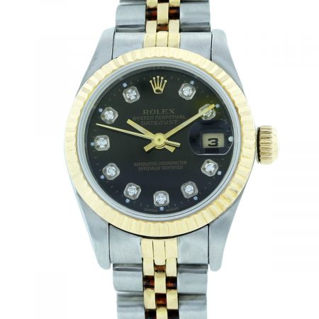 You are viewing this Rolex Datejust 69173 Black Diamond Dial Two Tone Watch
